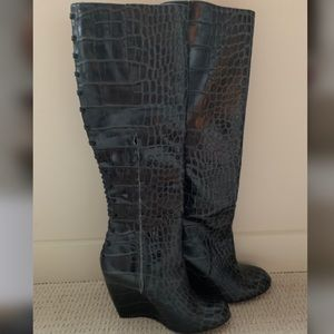 NEW Jerome C Rousseau knee high wedge boots